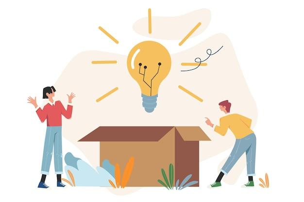 O brainstorming das pessoas preenche a ideia na forma de uma lâmpada