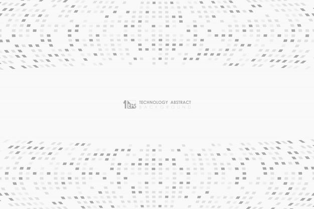 O branco cinzento abstrato colore a decoração mínima no fundo pixelated do projeto.