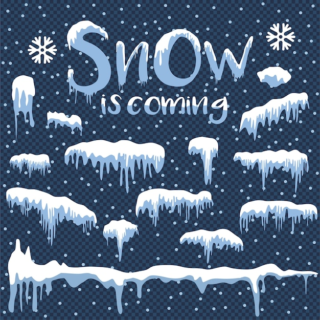 O branco da neve está chegando elemento de design no fundo azul