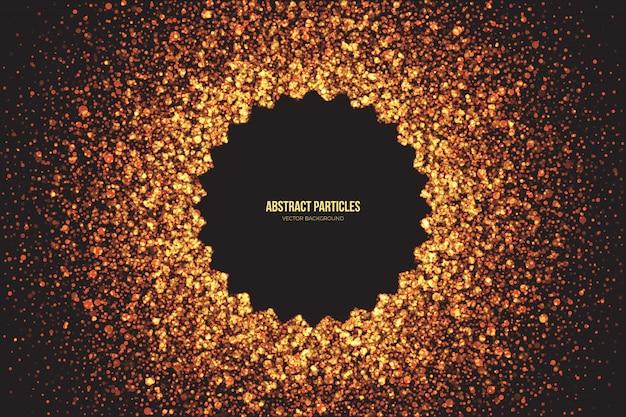 O brilho dourado brilhante abstrato irradia em volta do fundo do vetor das partículas.