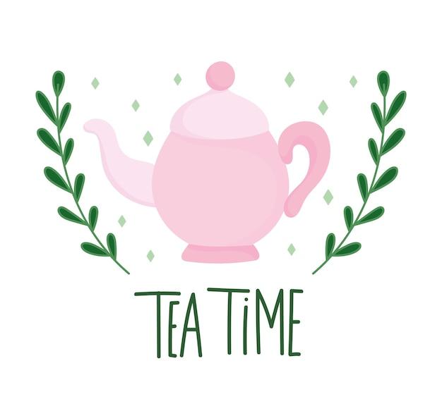 O bule rosa na hora do chá ramifica a natureza, utensílios de cozinha de cerâmica, desenho floral