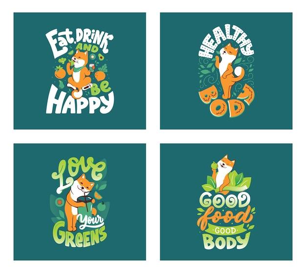 O cachorro akita com texto desenhado à mão sobre corpo saudável, amor, verduras, boa comida