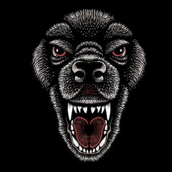 O cachorro de desenho de cabeça.