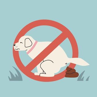 O cachorro fazendo cocô no sinal proibitivo ilustração em vetor fofa