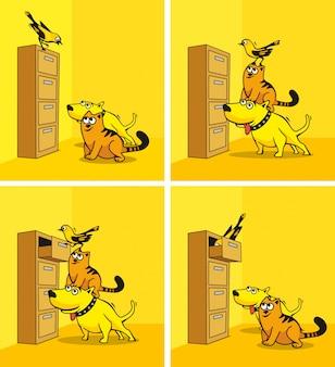 O cachorro, o gato e o pássaro estão olhando no armário.