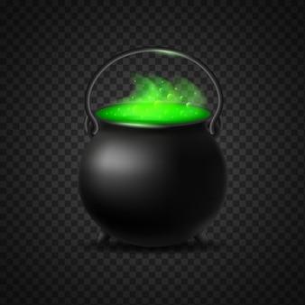 O caldeirão de bruxaria verde fermenta isolado. vapor crescente com bolhas de pote de poção borbulhante, símbolo de bruxaria e vetor de halloween