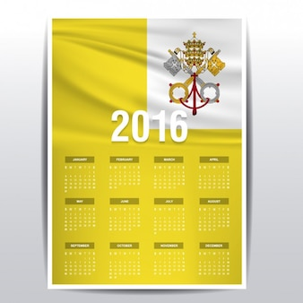 O calendário da cidade do vaticano de 2016