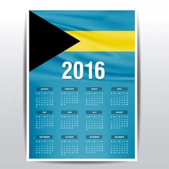 O calendário de 2016 bahamas