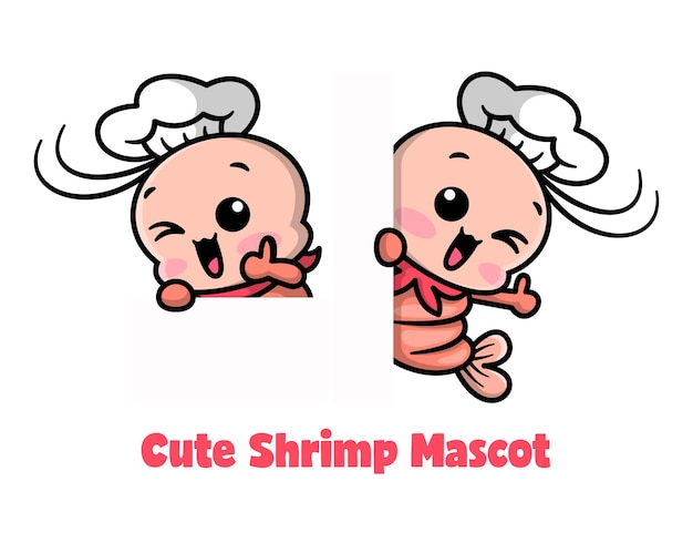 O camarão bonito está vestindo o chapéu do chef e o conjunto de mascote dos desenhos animados sorridentes.