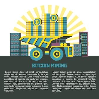 O caminhão basculante carrega os bitcoins para os servidores de segundo plano. ilustração vetorial com lugar para texto.