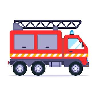 O caminhão de bombeiros atende a chamada para apagar o incêndio. ilustração vetorial plana.