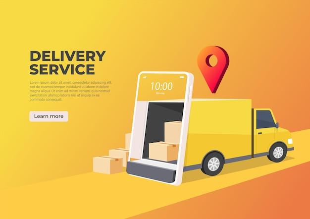 O caminhão de entrega abre a porta na tela do celular.