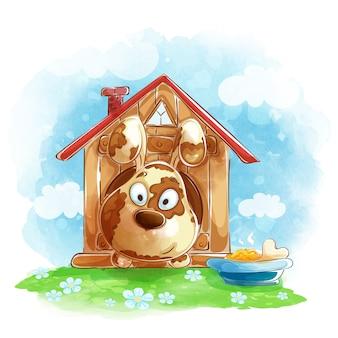O cão bonito engraçado olha fora de uma casa de cachorro, uma bacia de alimento e osso.