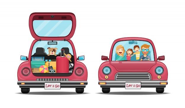 O cão feliz do homem e da mulher do viajante no carro vermelho do tronco para trás com ponto do check-in viaja ao redor do mundo.