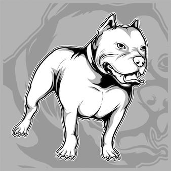 O cão produz o desenho americano da mão do pitbull