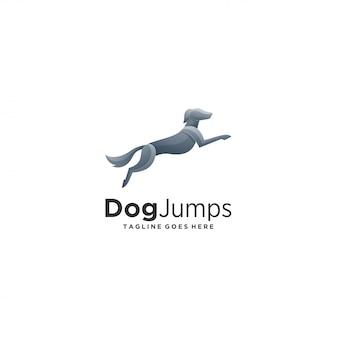 O cão salta o logotipo perfeito da ilustração do estilo.