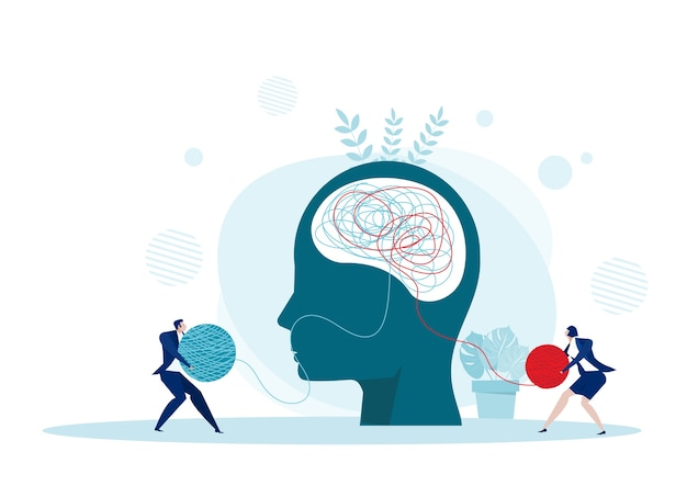 O caos de mentalidade oposta e a ordem no conceito de pensamentos. ilustração