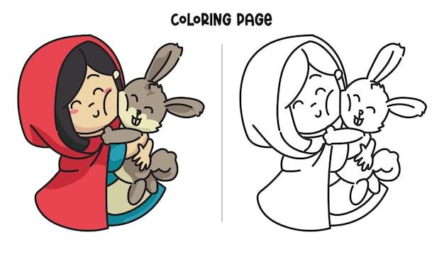 O capuz vermelho abraçou o coelho