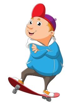 O cara bacana está fazendo atração com skate de ilustração