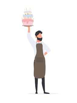 O cara cozinheiro segura um bolo de aniversário. um homem segura uma torta. isolado. vetor.