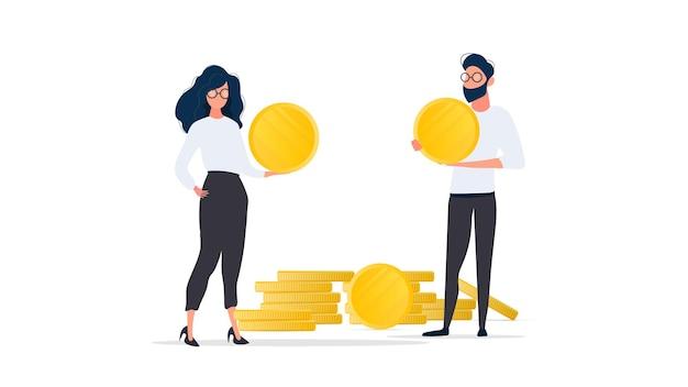 O cara e a garota estão segurando moedas de ouro. isolado. vetor.