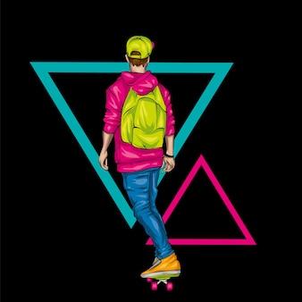 O cara e um skate. ilustração vetorial