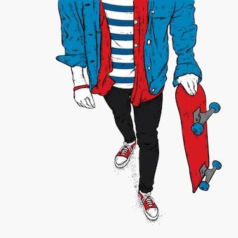 O cara e um skate. vetor.