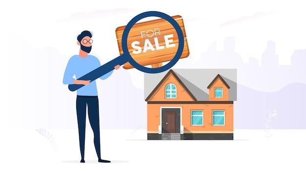 O cara está procurando uma casa para comprar. procure uma casa ou imóvel. para sinal de venda. isolado. vetor.