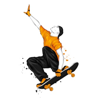 O cara está pulando em um skate. vetor.