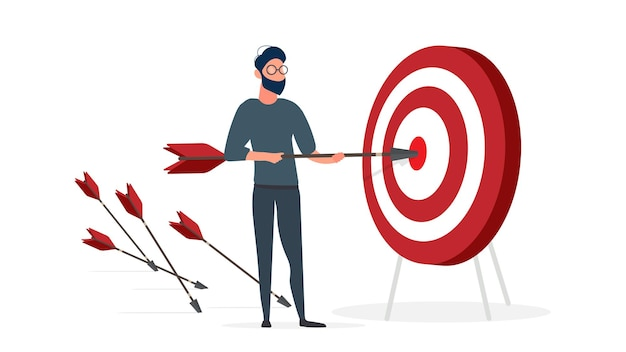 O cara está segurando uma flecha. a flecha atinge o alvo. o conceito de negócio de sucesso, trabalho em equipe e cumprimento de metas. isolado. vetor.