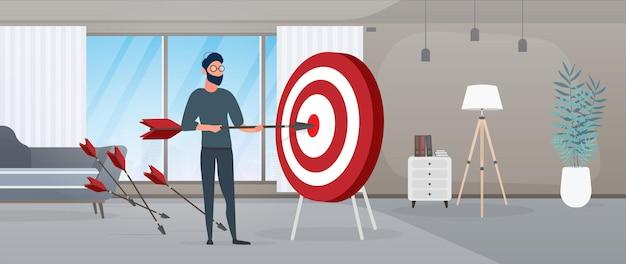 O cara está segurando uma flecha. a flecha atinge o alvo. o conceito de negócio de sucesso, trabalho em equipe e cumprimento de metas. vetor.