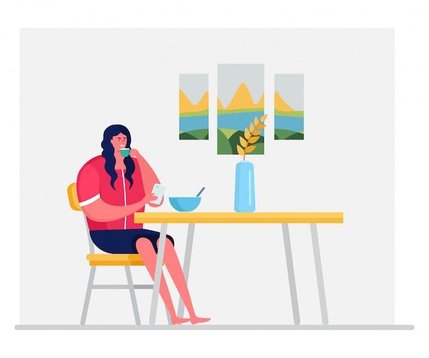 O caráter da mulher come o café da manhã e bebe o chá, café isolado na ilustração branca, lisa. celular feminino bate-papo.