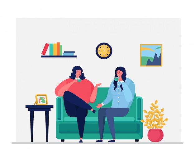O caráter diário da mulher da rotina, assento fêmea do casal bebe o chá, café isolado na ilustração branca, lisa. garota conversa conversa amigável.
