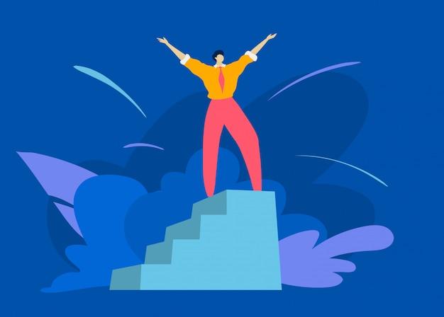 O caráter masculino levanta a mão no suporte do vencedor, obtém o primeiro lugar que a pessoa bem sucedida do homem toma o melhor lugar no azul, ilustração.