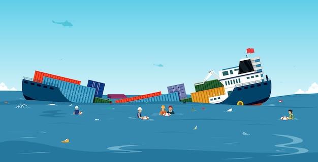 O cargueiro sofreu um acidente ao afundar no mar.