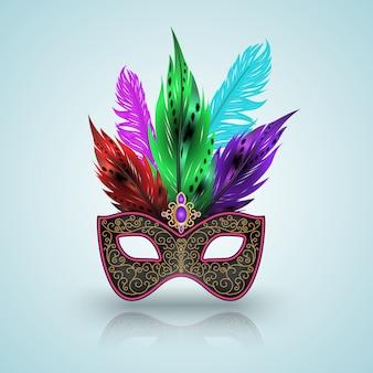 O carnaval de máscara escuro com penas