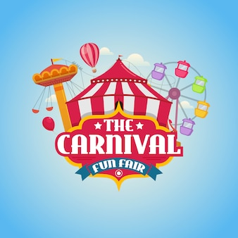 O carnaval parque de diversões design ilustração vetorial