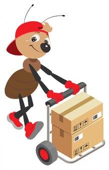 O carregador da formiga rola o carrinho com caixas de papelão