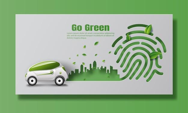 O carro elétrico em uma cidade moderna, salvar o planeta e o conceito de energia.