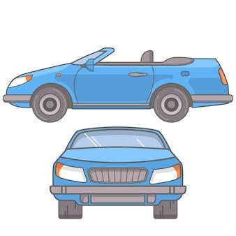 O carro esportivo é um cupê conversível com teto aberto.