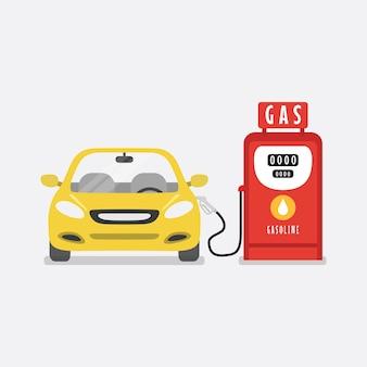 O carro está reabastecendo do posto de gasolina