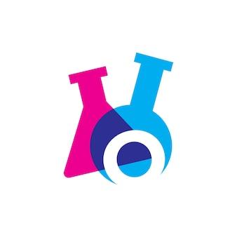 O carta laboratório de vidro de laboratório logo ilustração vetorial ícone