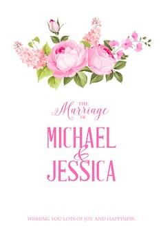 O cartão de convite de casamento.