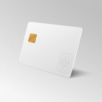 O cartão de crédito vazio branco 3d da compra isolou. cartão de crédito para finanças, banco ou compras com desconto cartão de plástico