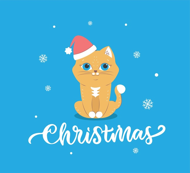 O cartão de feliz natal com o gato do papai noel o animal de inverno com neve e frase de letras