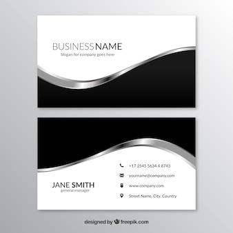 O cartão de visita com formas preto e cinza