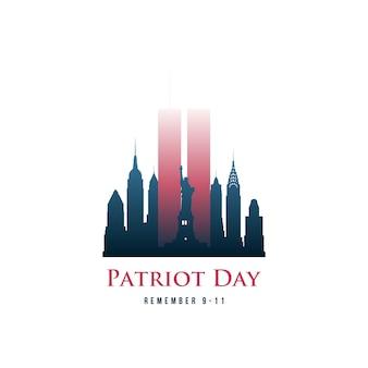 O cartão do dia do patriota com torres gêmeas e a frase recordam 9-11.