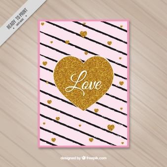 O cartão do valentim elegante com listras e corações do ouro