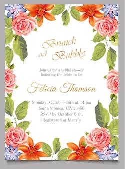 O cartão nupcial do convite do chá de panela, brunch e convite borbulhante com flor
