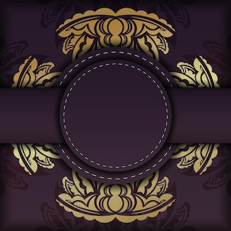 O cartão postal é da cor bordô com um luxuoso ornamento de ouro, preparado para impressão.